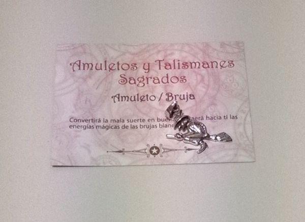 Picture of Amuleto bruja montada en escoba. Protección y buena suerte. 36X16 MM Plata