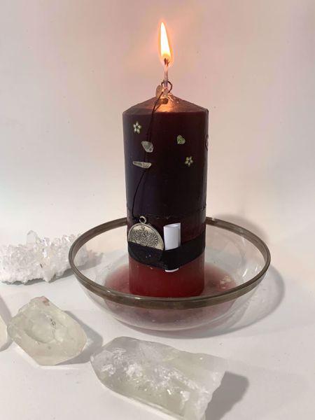 Imagen de Veladora mineral fortuna y felicidad - cuarzo blanco